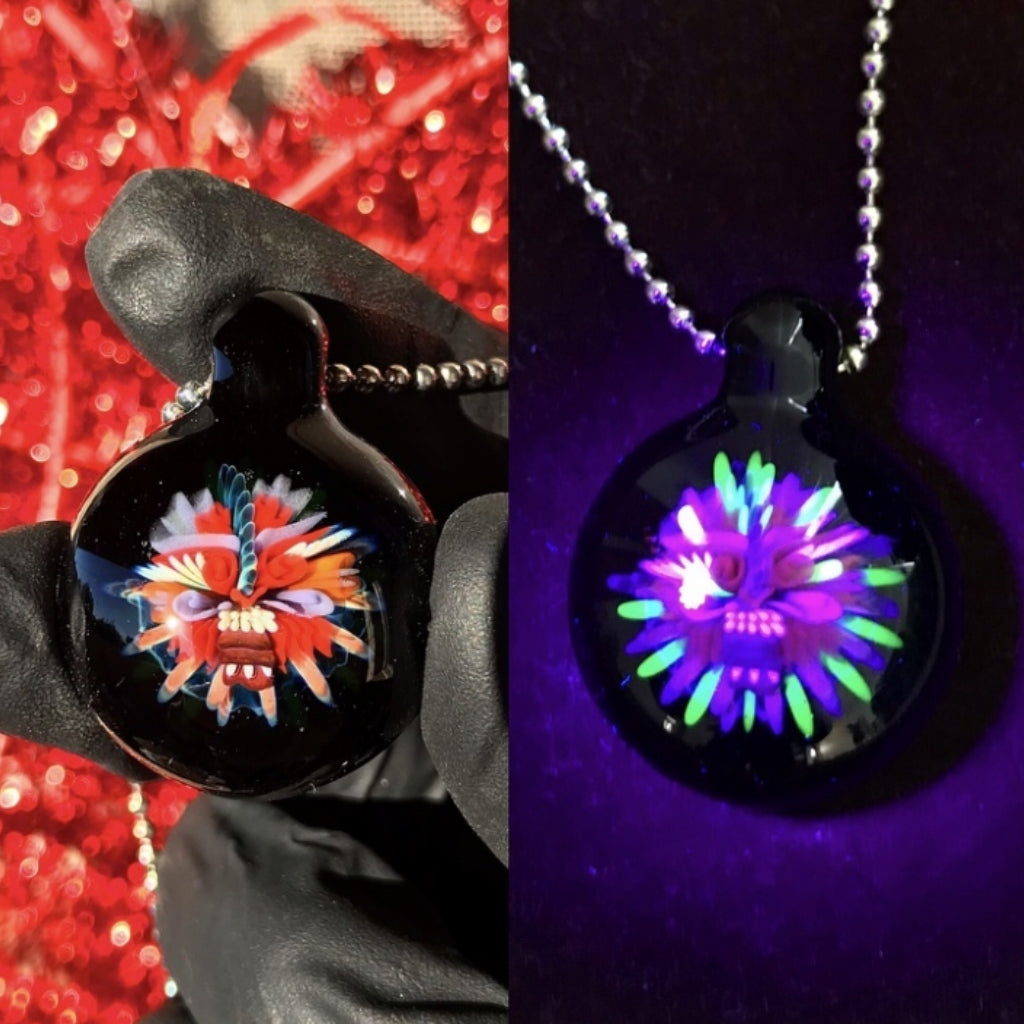 Monster Face Pendant with UV Glow in the Dark Accents