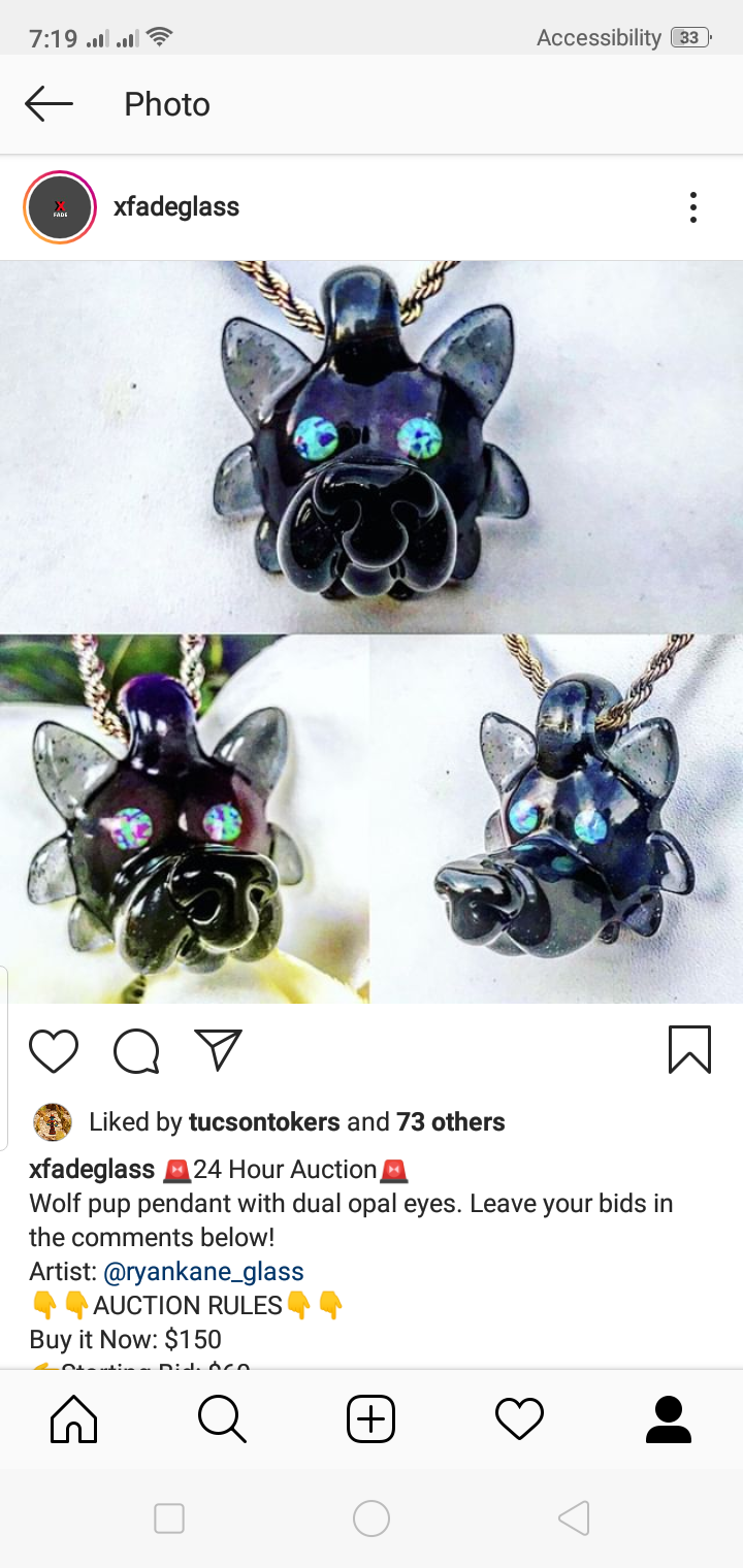 Wolf pup pendant with dual opal eyes