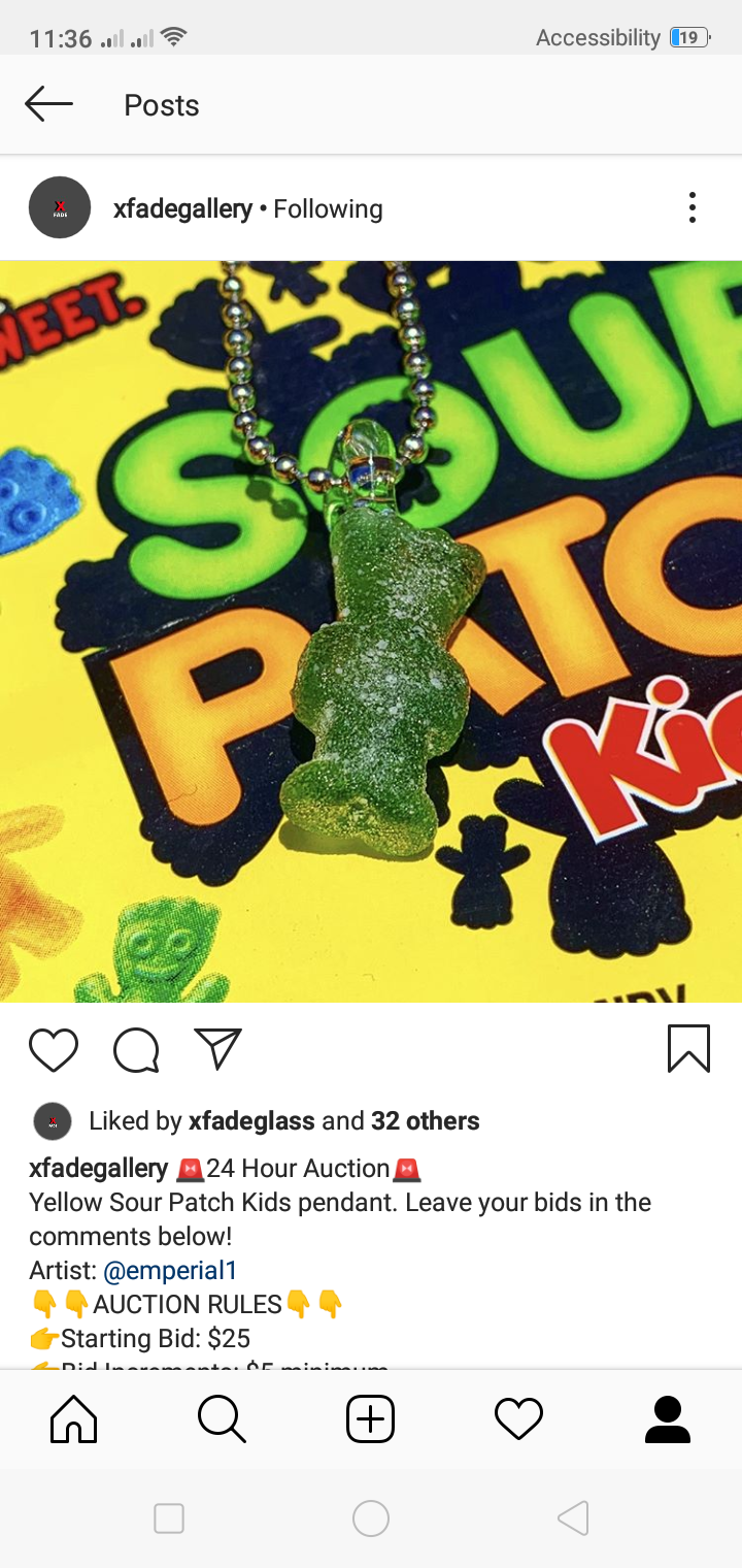 Yellow sour patch kids pendant