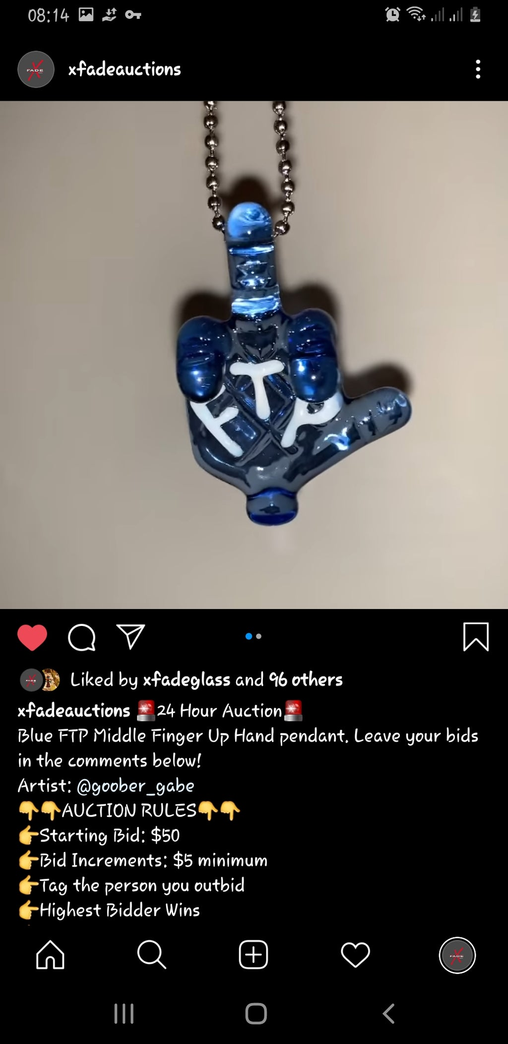 Middle finger pendant art