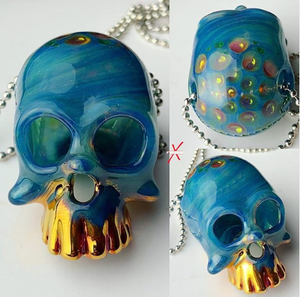 Sacred Skull pendant with 24K Gold Grill Fumed Up To Jawbones with Gold Dot Brain.