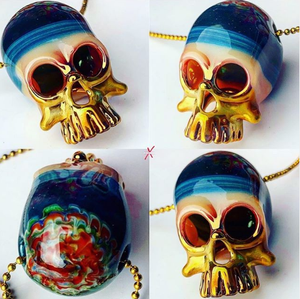 Sacred Skull pendant Peacock x Starry Night x Rake Brain with 24K Gold Grill Fumed Up To The Jawbones