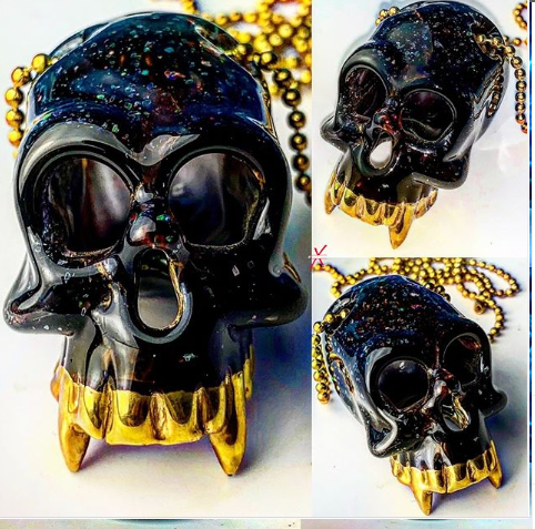 Crushed Opal Sacred Skull pendant with 24K Gold Fangs.