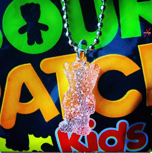 CFL color-shifting sour patch kid (glass) pendant