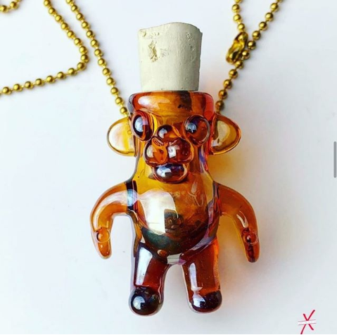 Oil Bear pendant/stash-jar (comes with cork)
