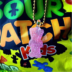 Watermelon sour patch kid (glass) pendant