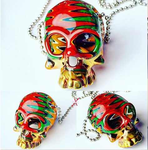 Sacred Skull pendant Wig-Wag 24K Gold Grill Fumed Up To The Jawbones
