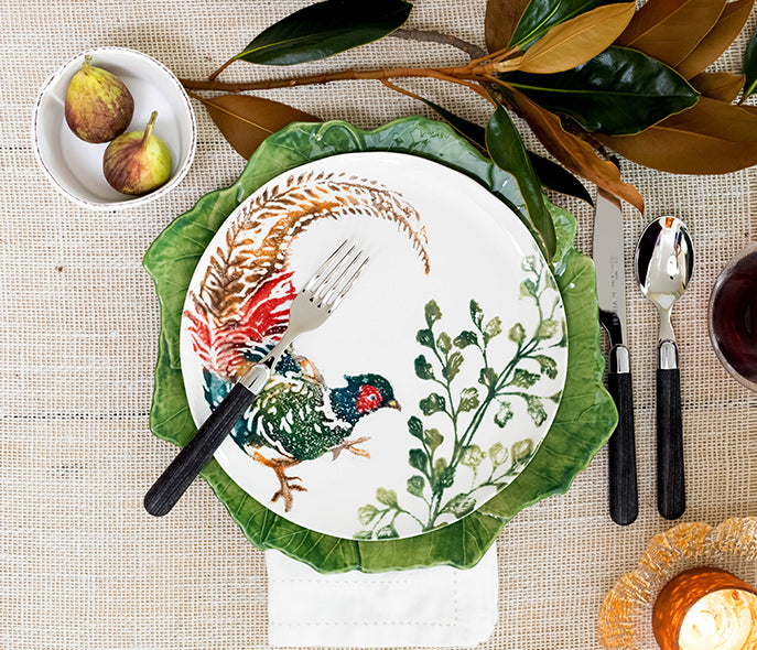 YOUR FALL GIFT GUIDE: SHOP NOW - Foglia Stone Dinner Plate, Fauna Pheasant Salad Plate, Lastra Condiment Bowl & Rufolo Votive by VIETRI