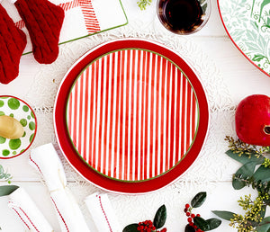 Get Early Access to Our New Holiday Collections! Preorder, now! Cotone Napikins, Chroma Red Dinner Plate & Mistletoe Striped Salad Plate & Assorted Serving Pieces