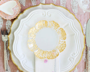 Rufolo Glass Charger, Incanto Stone Baroque Dinner Plate & Rufolo Glass Canape Plate with Martellato Flatware by VIETRI