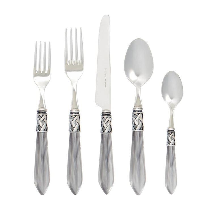 Aladdin Antique Light Gray Five-piece Place Setting by VIETRI