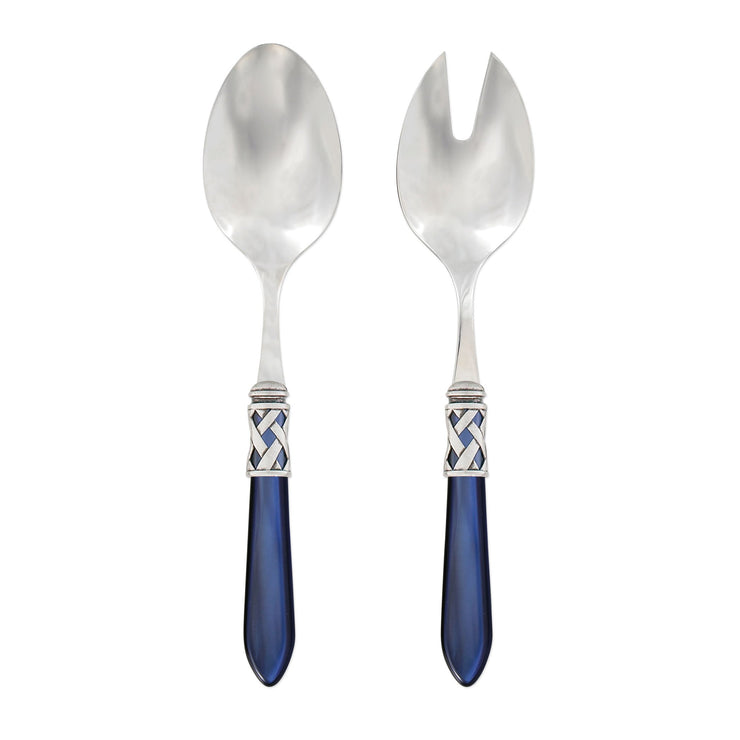 Aladdin Antique Blue Salad Server Set by VIETRI