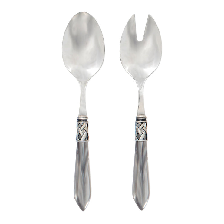 Aladdin Antique Light Gray Salad Server Set by VIETRI