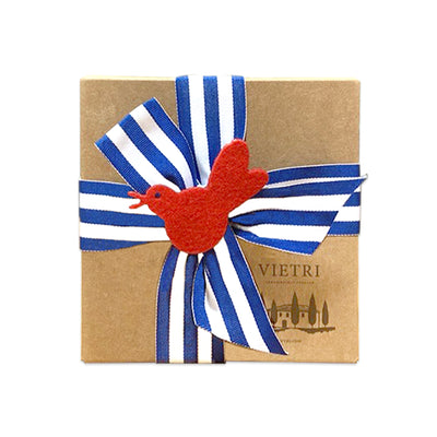 Gift Wrap: Blue & White Striped Ribbon with Red Bird