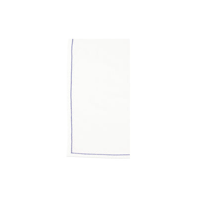 Cotone Linens Ivory Napkins with Cobalt Stitching by VIETRI
