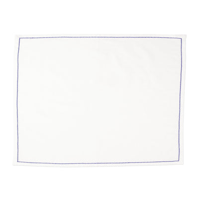 Cotone Linens Ivory Placemats with Cobalt Stitching by VIETRI