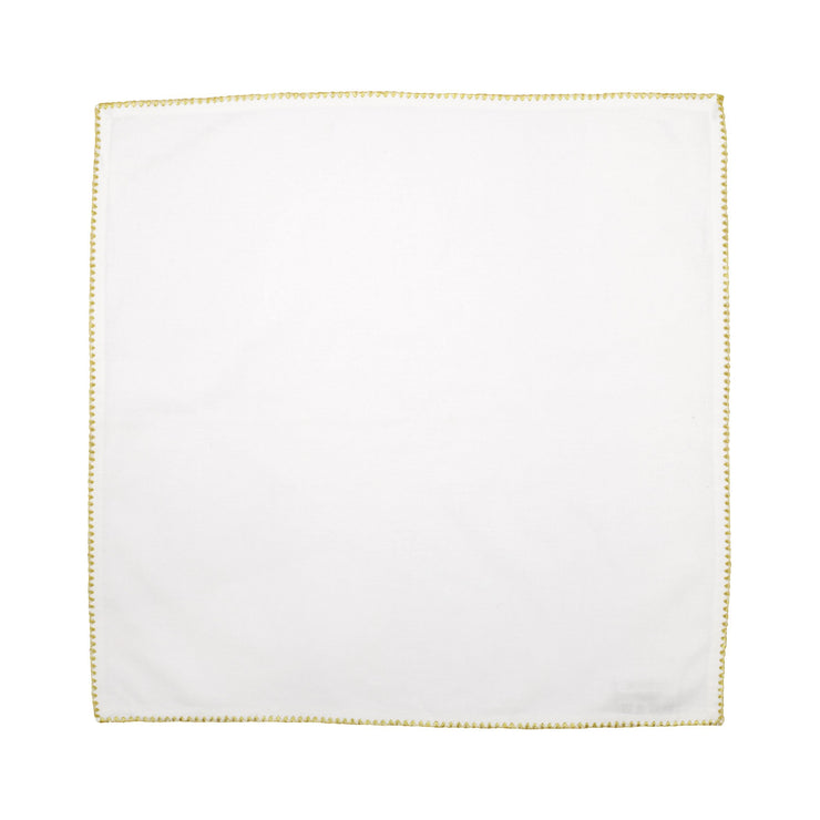 Cotone Linens Ivory Napkins with Gold Stitching - Set of 4 by VIETRI