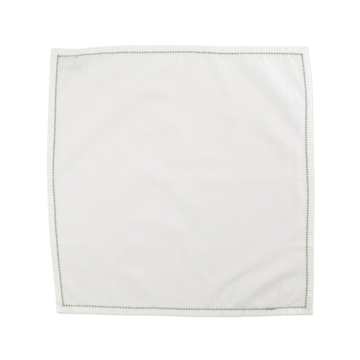 Cotone Linens Ivory Napkin with Light Gray Stitching - Set of 4 by VIETRI