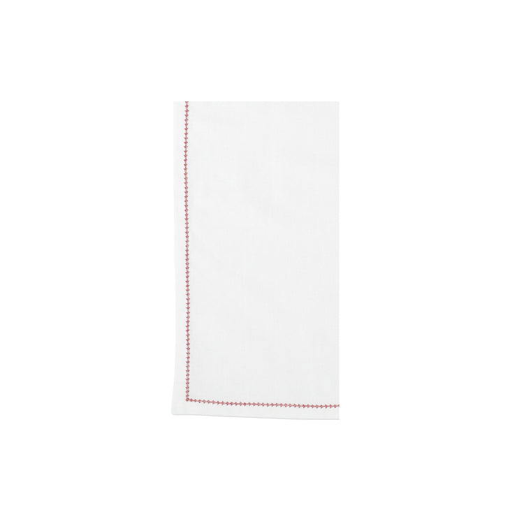 Cotone Linens Ivory Napkins with Red Stitching by VIETRI
