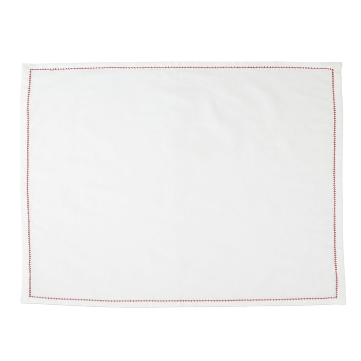 Cotone Linens Ivory Placemats with Red Stitching by VIETRI