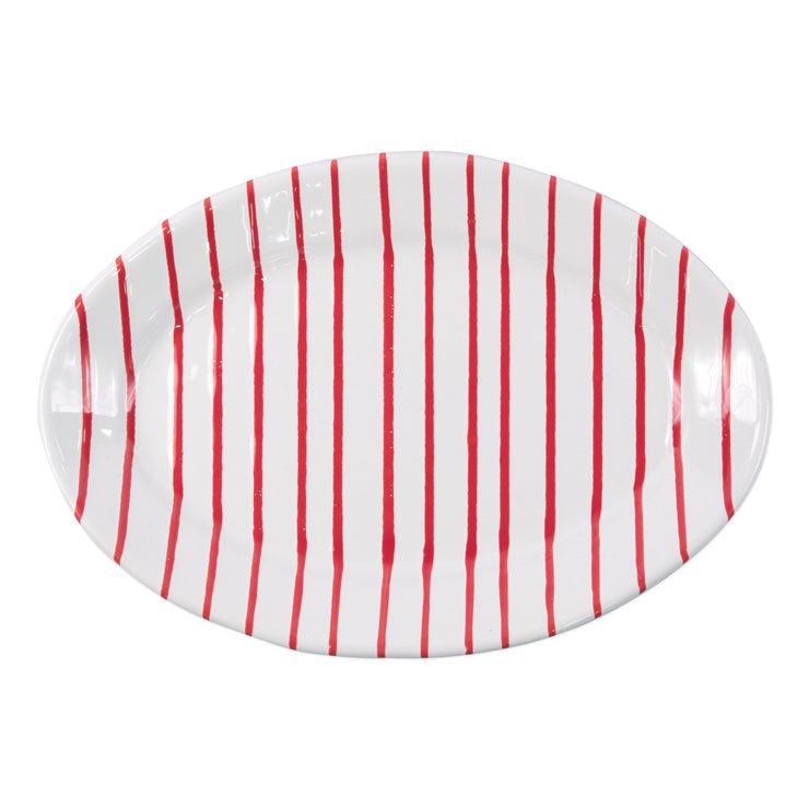 Stripe Red Small Oval Platter by VIETRI