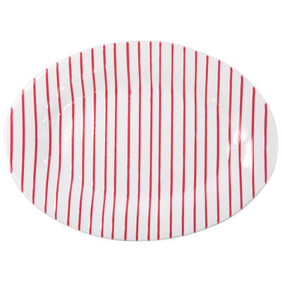 Stripe Red Medium Oval Platter by VIETRI