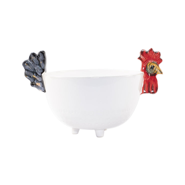Fortunata Rooster Figural Footed Deep Bowl by VIETRI