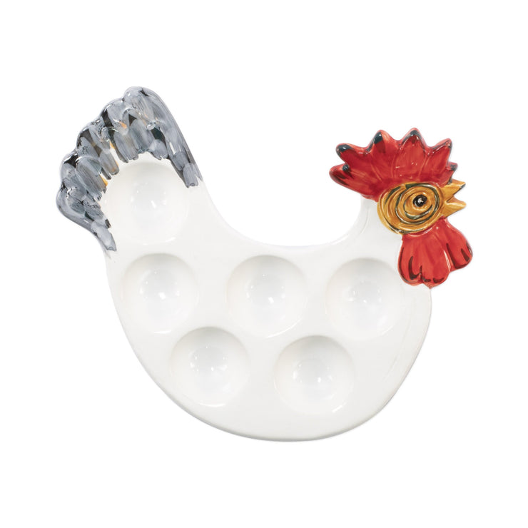 Fortunata Rooster Figural Footed Egg Tray by VIETRI
