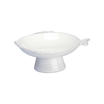 Lastra Fish White Small Footed Compote Bowl by VIETRI