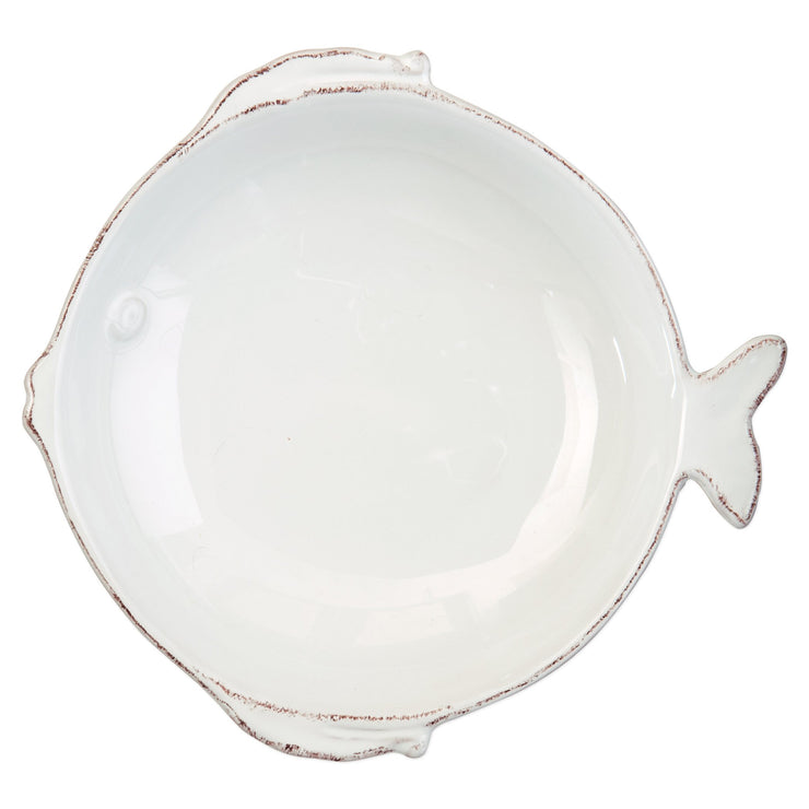Lastra Fish White Medium Serving Bowl by VIETRI