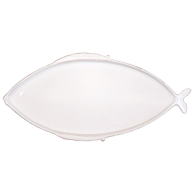 Lastra Fish White Large Oval Platter by VIETRI