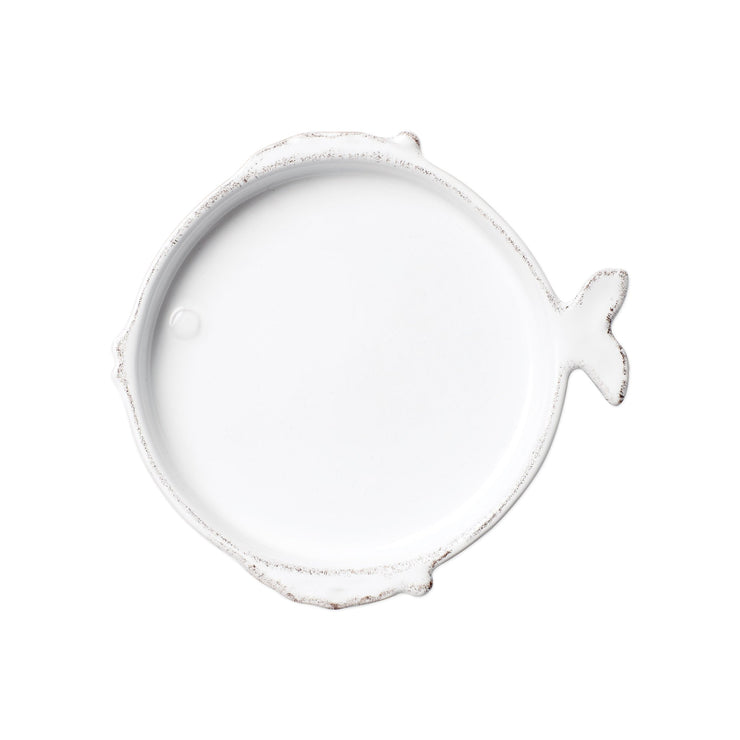 Lastra Fish White Canape Plate by VIETRI