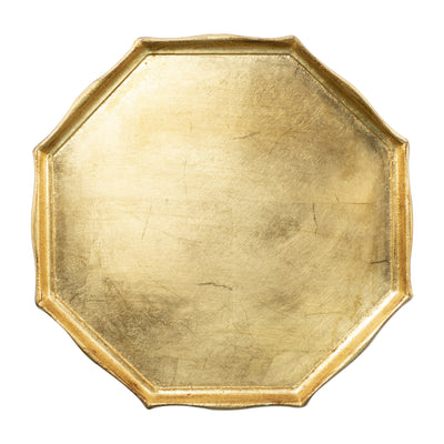 Florentine Wooden Accessories Gold Octagonal Tray