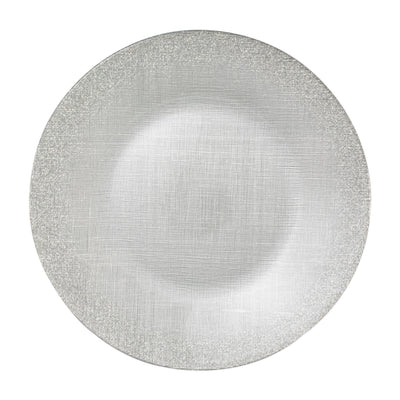 Glitter Glass Silver Service Plate/Charger by VIETRI