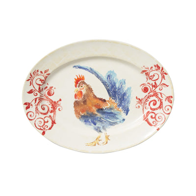 Gather Rooster Medium Oval Platter by VIETRI