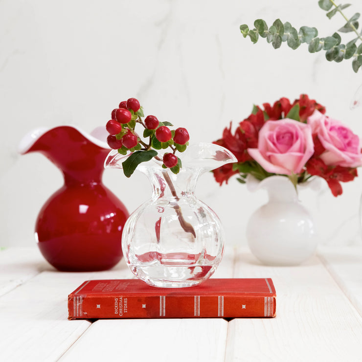 Hibiscus Glass Red Small Fluted Vase