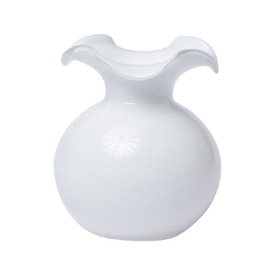 Hibiscus Glass White Small Fluted Vase by VIETRI