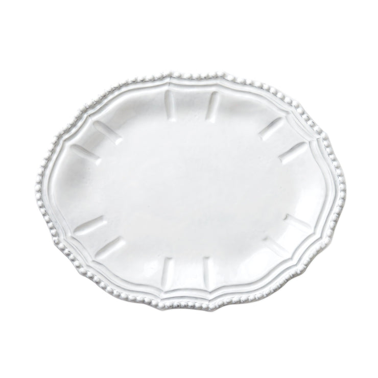 Incanto White Baroque Small Oval Platter by VIETRI