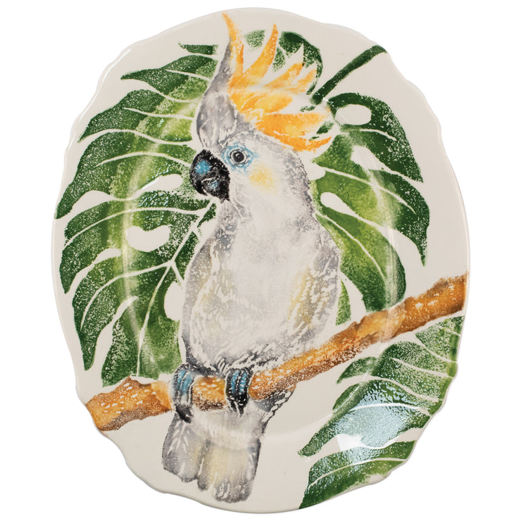 Into the Jungle Cockatoo Scallop Oval Platter by VIETRI