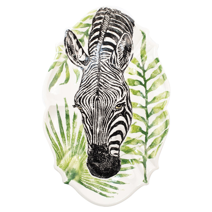 Into the Jungle Zebra Scallop Large Oval Platter by VIETRI