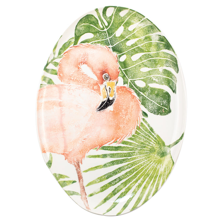 Into the Jungle Flamingo Oval Platter by VIETRI