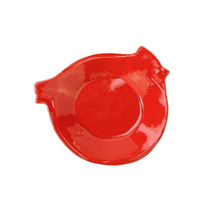 Lastra Holiday Figural Red Bird Canape Plate by VIETRI