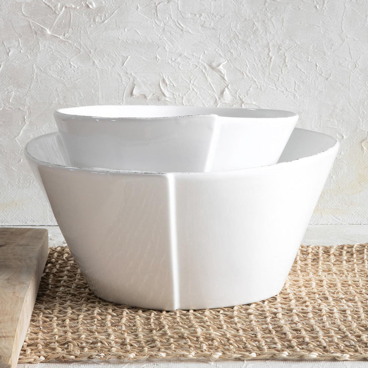 Lastra White Medium Stacking Serving Bowl