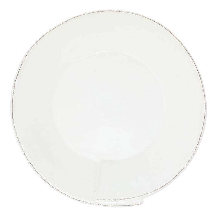 Lastra White Large Shallow Serving Bowl by VIETRI
