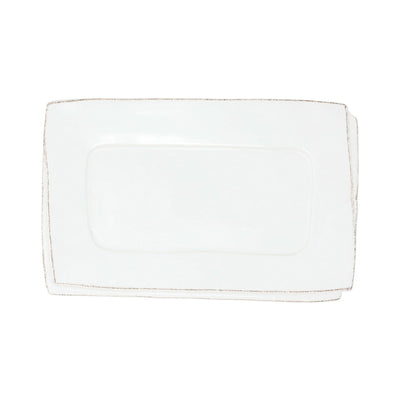 Lastra White Small Rectangular Tray by VIETRI