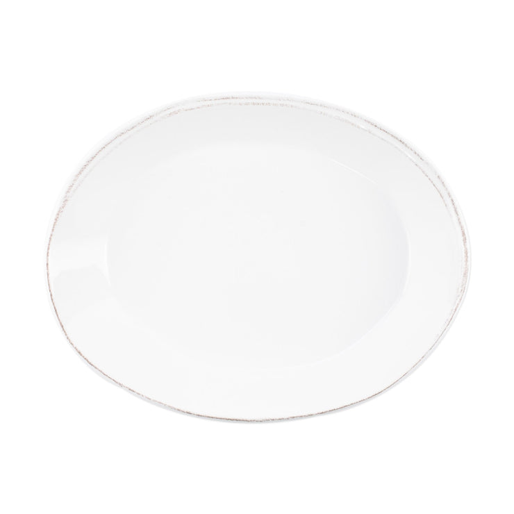 Lastra White Small Oval Baker by VIETRI