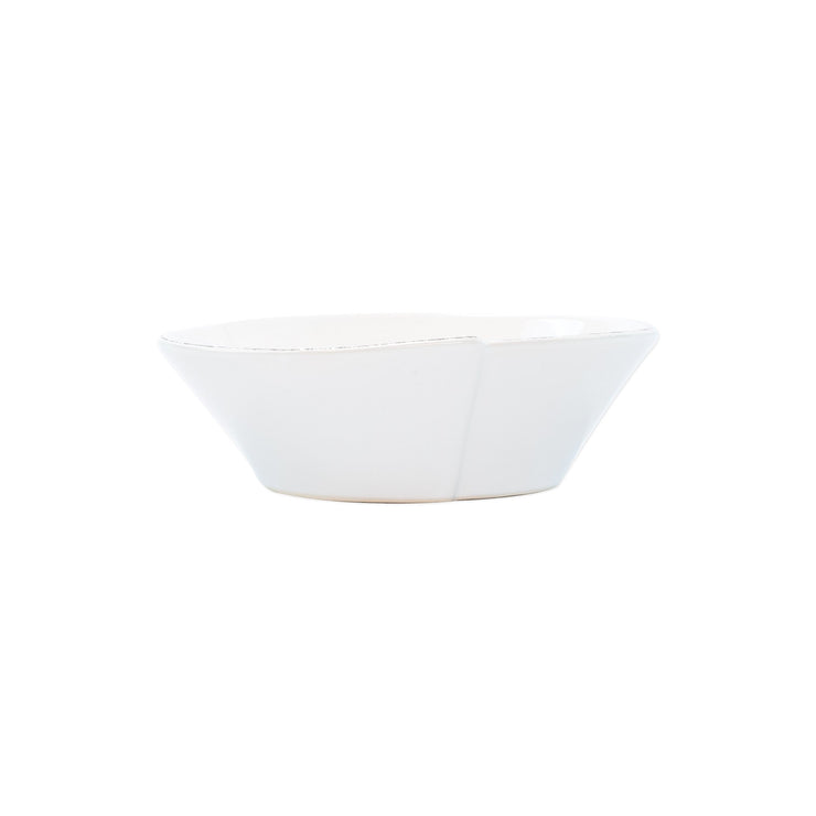 Lastra White Small Oval Bowl by VIETRI