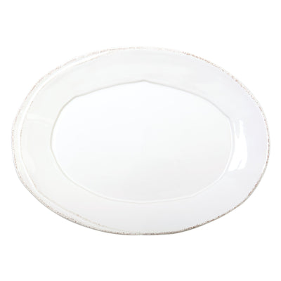 Lastra White Small Oval Platter by VIETRI