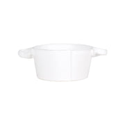 Lastra White Small Handled Bowl by VIETRI