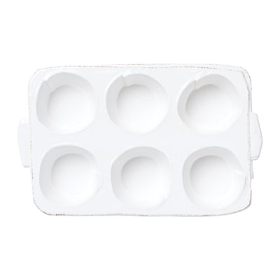 Lastra White Muffin Tin by VIETRI